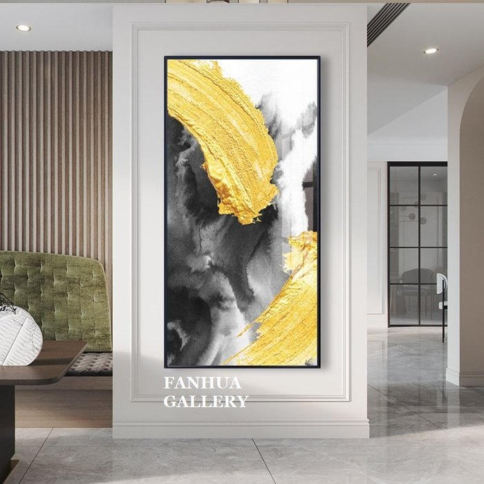 C - R - A - Z - Y - T - O - W - N 黃橘紅立體視覺抽象藝術長版掛畫新中式客廳背景牆裝飾畫