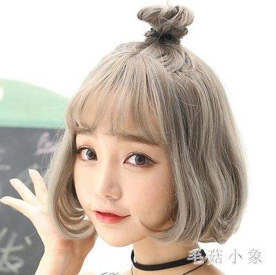 ZIHOPE 短假髮 女韓版波波頭全頭套式修臉蓬松奶奶灰內扣短卷發圓臉 ICZI812