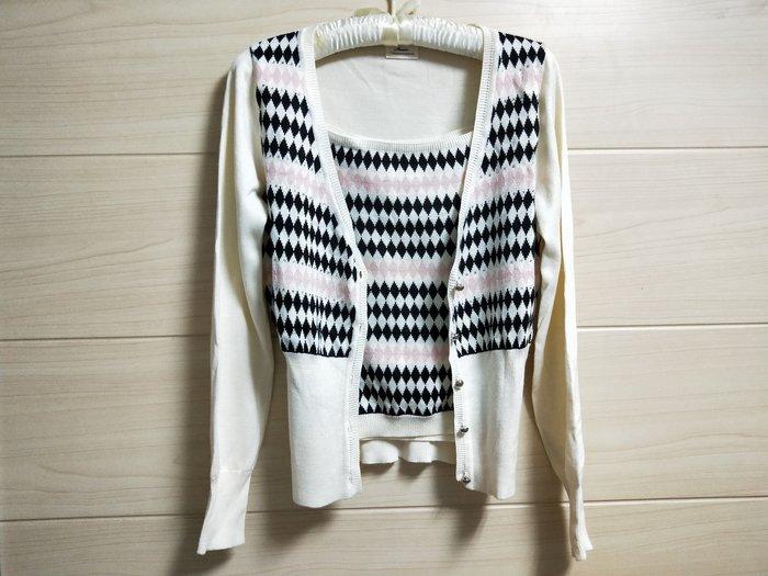 丹丹衣坊--歐款英倫菱紋格二件式針織衫