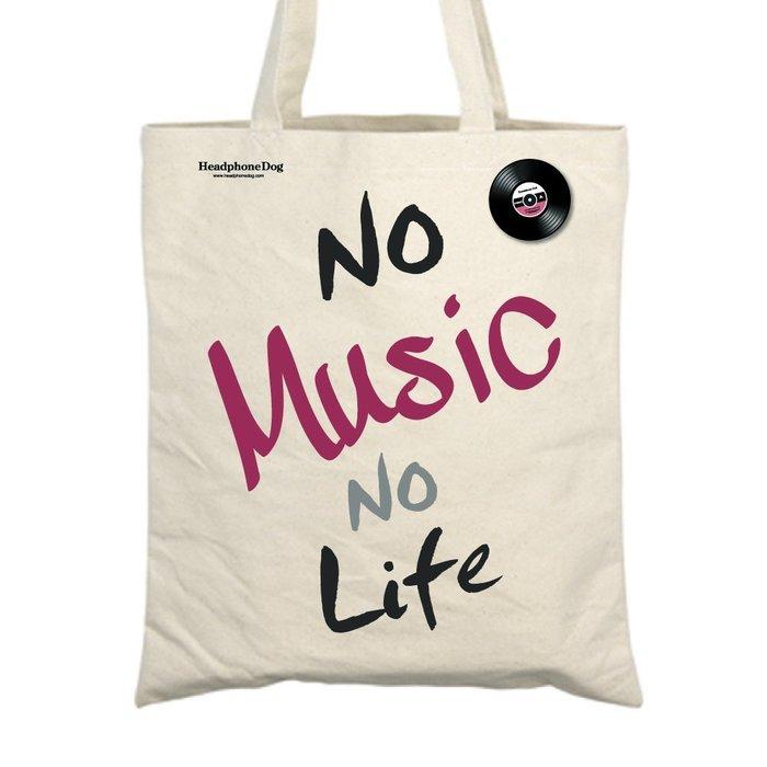 經典MUSIC音樂文字 帆布購物袋/環保提袋(附金屬黑膠徽章)