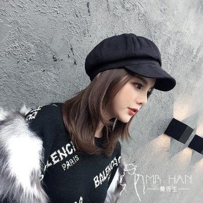 帽子  八角帽子女秋冬天韓國英倫貝雷帽麂皮絨鴨舌畫家帽日系百搭報童帽