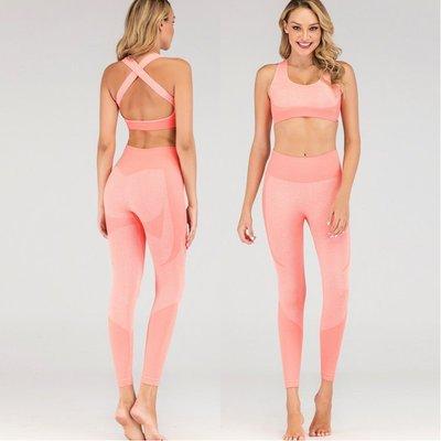 歐美性感露背美背瑜伽服透氣新高腰緊身彈力健身服新二件套Yoga Suitsax