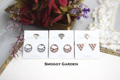 【Smoggy Garden】韓 簍空鏤空圓形/三角形線條交錯水鑽鋯石點綴幾何圖形耳環 925純銀針 銀/玫瑰金