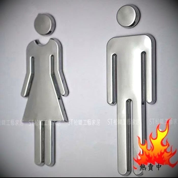 【松鐵工藝家居】現貨 復古工業風美式loft輕工業男女洗手間門牌廁所告示指示標識牌創意衛生間WC警提示標志貼餐廳咖啡廳