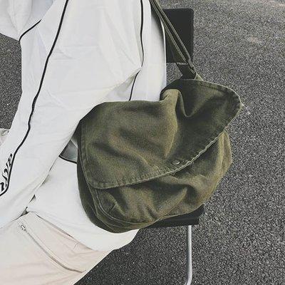 【極簡時尚】純色帆布包郵差包學生書包