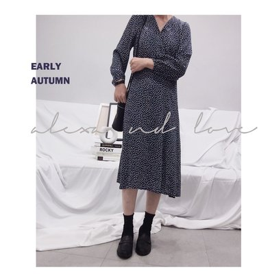 Alexa&Love_韓國印花雪紡系帶長袖連身裙連衣裙(特)