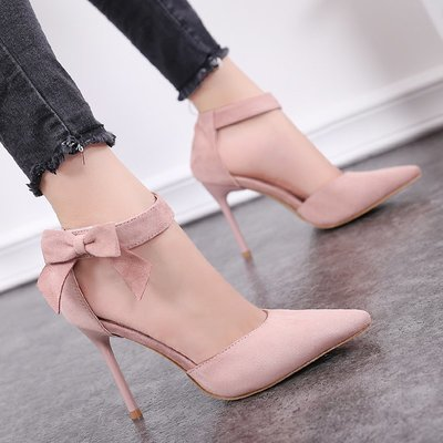 2018夏秋韓版簡約粉色蝴蝶結魔術貼涼鞋超高跟鞋細跟尖頭絨面女鞋
