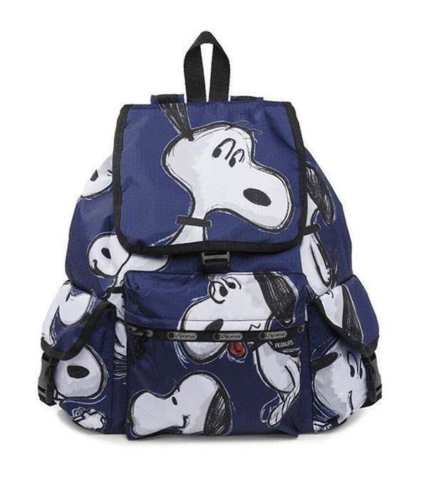 現貨 Lesportsac x Snoopy手繪藍史努比限定款雙肩降落傘防水後背包 7839 媽媽包 限量