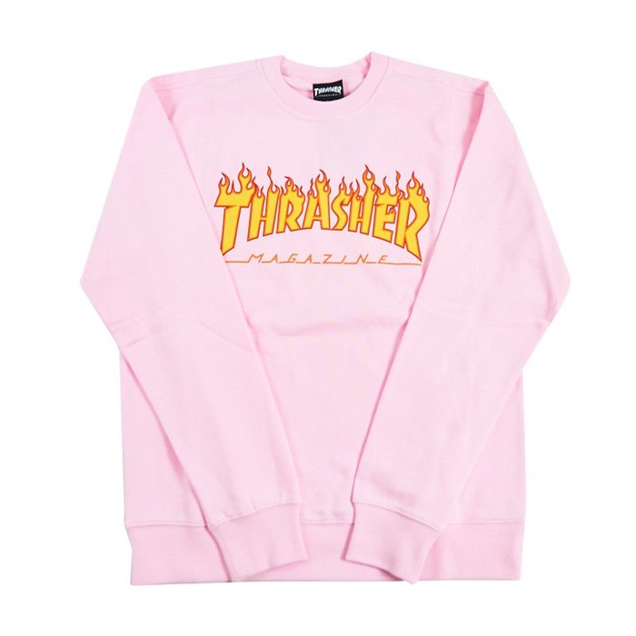 THRASHER FLAME  日線 經典大學T-PINK【HopesTaiwan】