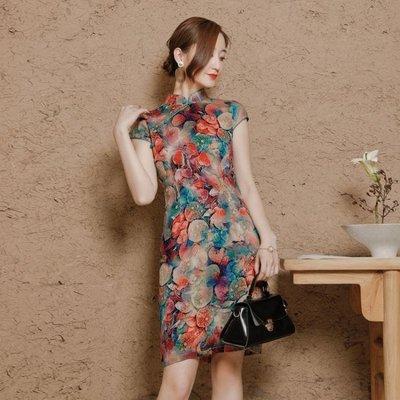 改良式旗袍女大碼短款印花色修身優雅彈力棉麻洋裝 Ic2504