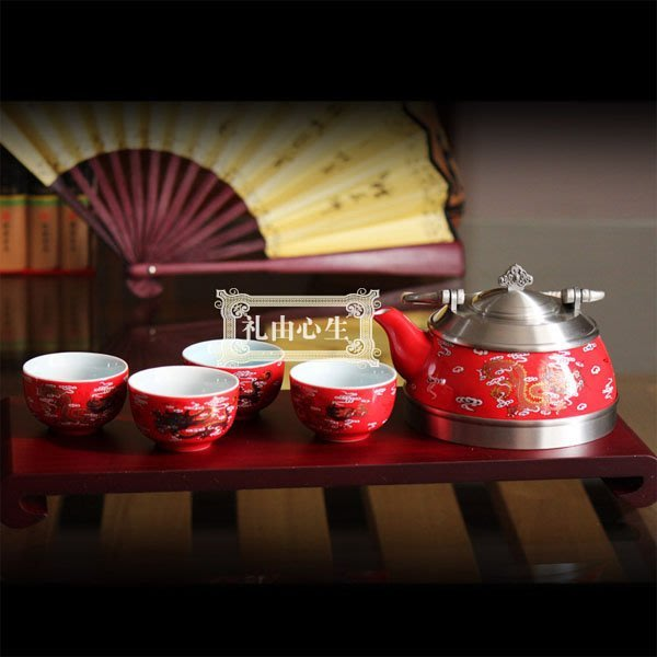 5Cgo【茗道】含稅會員有優惠 18429844932 馬來西亞錫杯陶瓷紅瓷茶具套裝婚慶創意功夫茶杯茶盤結婚禮物