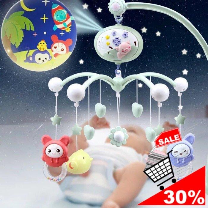 ✿荳荳小舖✿聖誕節 彌月 週歲 彌月禮物 交換禮物 新生嬰兒音樂床玲-掛飾床架-投影特效-(水藍色/櫻花粉)