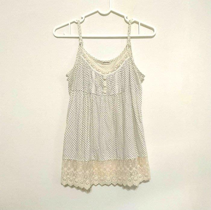 Super Hakka日本品牌 細肩帶蕾絲水玉點點上衣 小可愛 內搭 M號