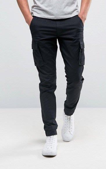 ◎美國代買◎ASOS代買有蓋口袋裝飾彈性褲口帥氣英倫時尚街風顯廋工作長褲工作口袋長褲~歐美街風~大尺碼