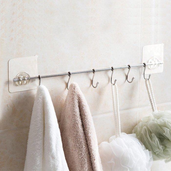 清潔浴室不銹鋼粘膠掛鉤廚房粘鉤六連鉤 門后免打孔無痕強力粘貼排鉤
