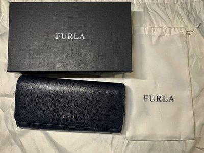 二手 Furla經典黑 logo 長夾