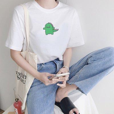 DRAWN DINOSAUR短袖T恤 3色 恐龍怪獸情侶T短tee衣服短T韓t情侶裝卡通班服團體服 現貨