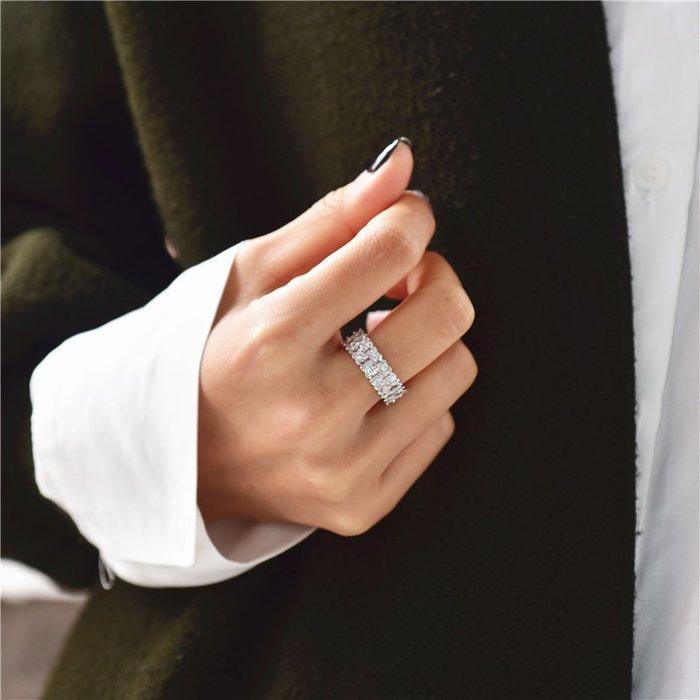 BN 歐美閃亮滿鋯石925純銀戒指