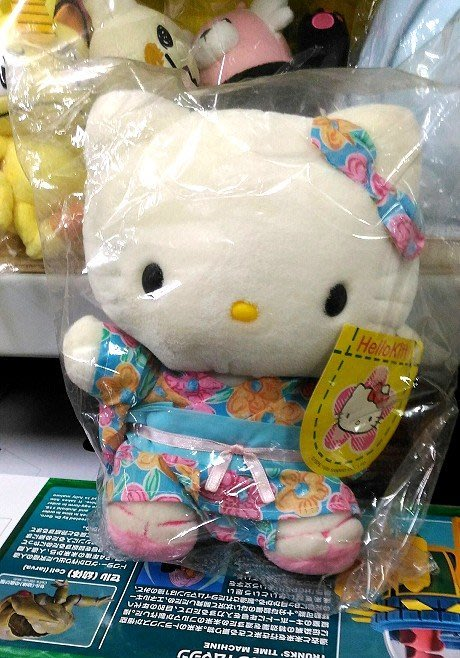 陽光一品~Hello Kitty- KT和服.浴衣絨毛娃娃(中/坐姿)-- 水藍花