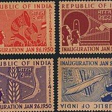 [亞瑟小舖]印度總理甘地就職典禮新票4全,佳品!!!(1950年)