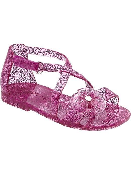 【Nichole's歐美進口優質童裝】Old navy 女童 金蔥閃亮紫果凍小花涼鞋*Carter's/OshKosh
