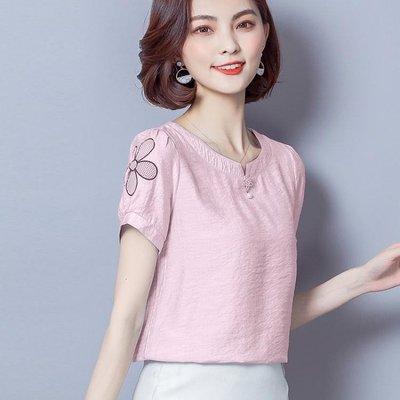 棉麻上衣女式短袖刺繡小衫夏新款v領寬鬆亞麻打底衫 Ic1155