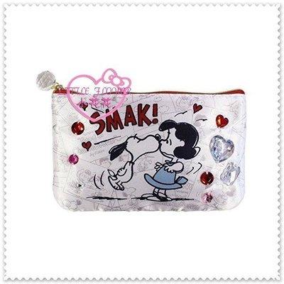 ♥小公主日本精品♥ Hello Kitty《snoopy》史努比筆袋 寶石扁平化妝包眼鏡袋 親親 42095101