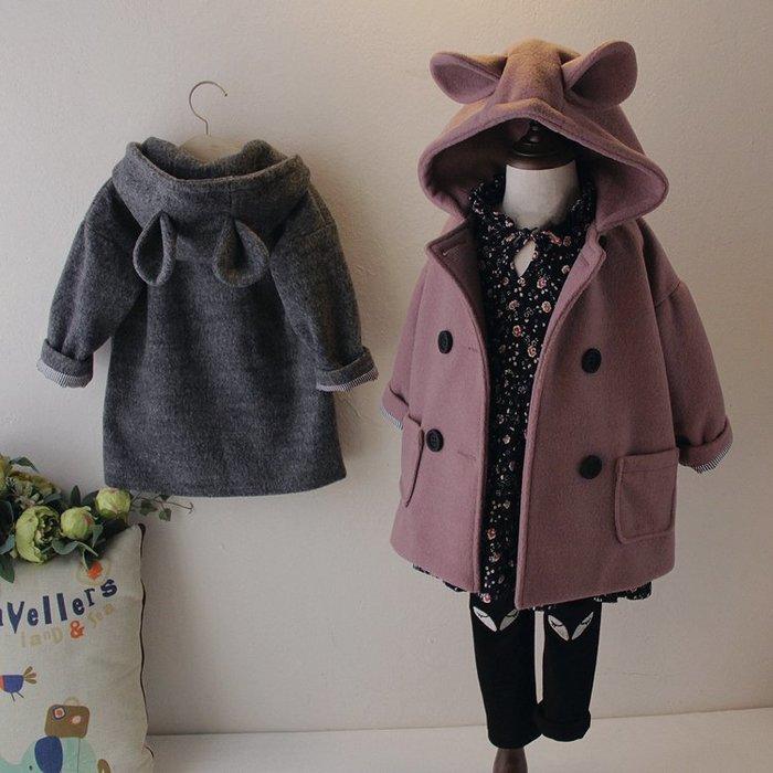 [C.M.平價精品館]90~130/新品特價保暖舒適可愛兔耳朵連帽外套 小童/中童