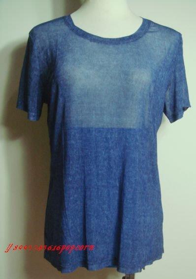 短袖圓領藍色透膚舒適寬鬆休閒百搭上衣