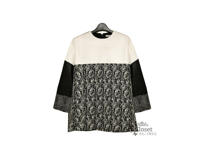 My Closet 二手名牌 CELINE 黑白色系小羊皮x多材質造型拼接上衣