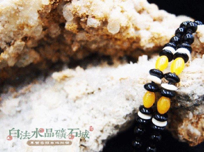 白法水晶礦石城    手工製作 黑瓷珠&木珠&金剛結& 黃琉璃珠 鍊寬5.5mm 項圈 項鍊  首飾材料