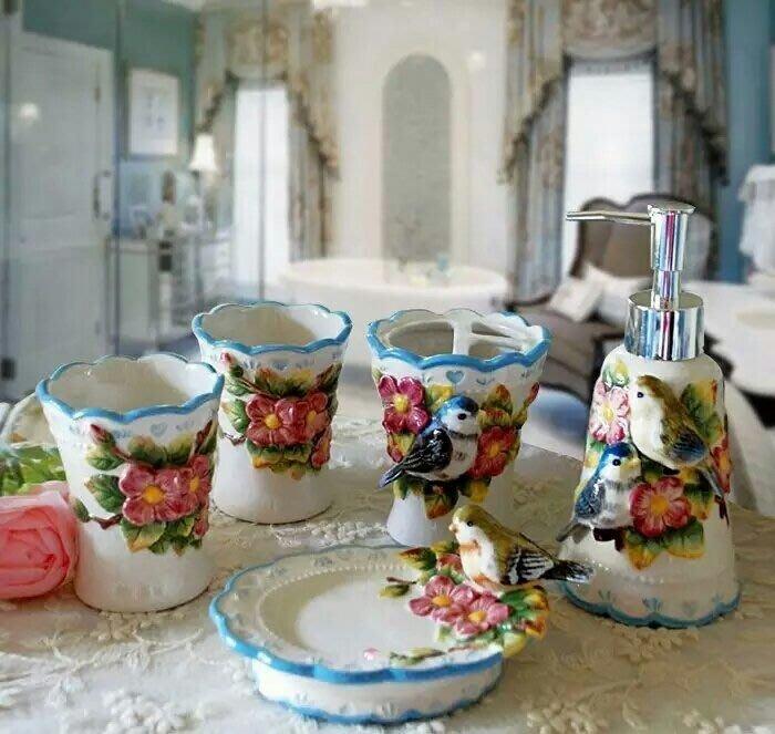 粉紅玫瑰精品屋~歐式高檔奢華衛浴五件套裝~愛情鳥