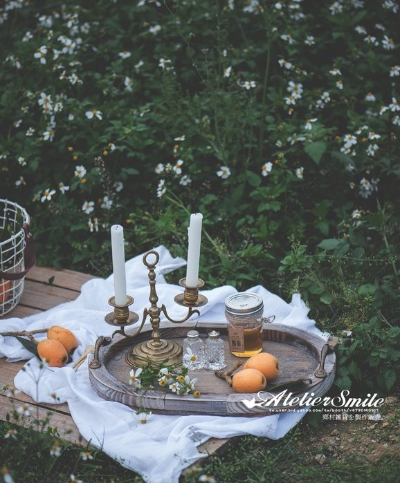 [ Atelier Smile ]  鄉村雜貨 日本直送 復古作舊 木製鐵手把收納盤 長橢圓 把手麵包盤 拍照道具 #大