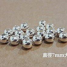 【玩石咖925純銀手創材料批發】925純銀 7mm 大孔銀珠 孔徑3mm 1顆/14$