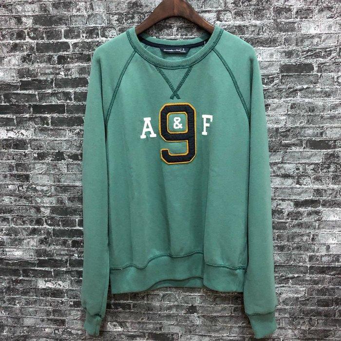 Maple麋鹿小舖 Abercrombie&Fitch * AF 綠色電繡字母款長T * ( 現貨S號 )