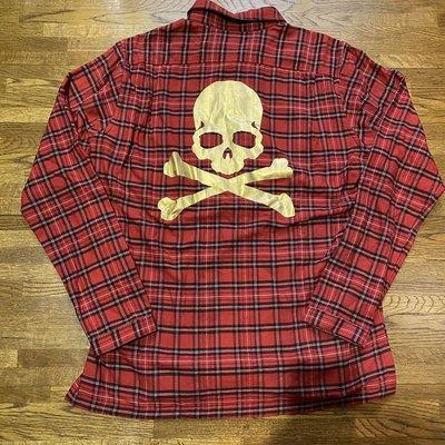 Mastermind Japan紅格金箔骷髏襯衫L號