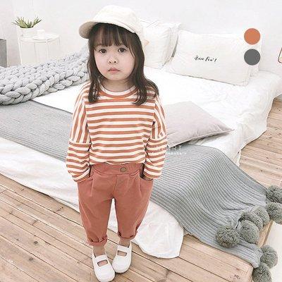 【可愛村】 韓系百搭寬鬆條紋長袖T恤 童裝