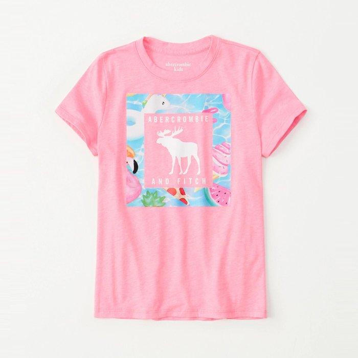 【abercrombie kids】【a&f】af女童款短袖T恤印圖框白小字鹿粉 F07190717-09