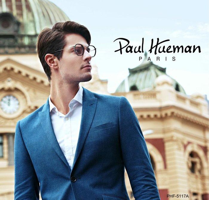 Paul Hueman 韓國熱銷品牌 英倫復古黑色圓框金屬細腳 雙板料設計 PHF5117A 5117 海報主打款