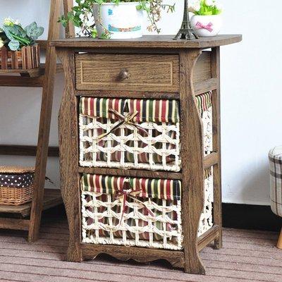 美式鄉村風 收納3層櫃 整理籃架木櫃 三層木櫃 抽屜櫃 床邊櫃 置物架 轉角桌 邊桌 3格雜物架 實木櫃 三格櫃 擺飾櫃