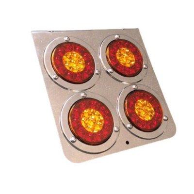 『 W.S嘉義之光』四圓後燈 電鍍尾燈 24V圓燈 爆亮LED 煞車燈/方向燈/警示燈 卡車 貨車 砂石車 聯結車 重車