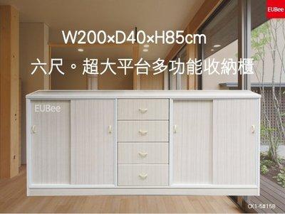 【優彼塑鋼】獨家。6.4尺超大平台四抽推門收納櫃/電器櫃/櫥櫃/置物櫃/抗菌家具/南亞塑鋼(CK1-5)
