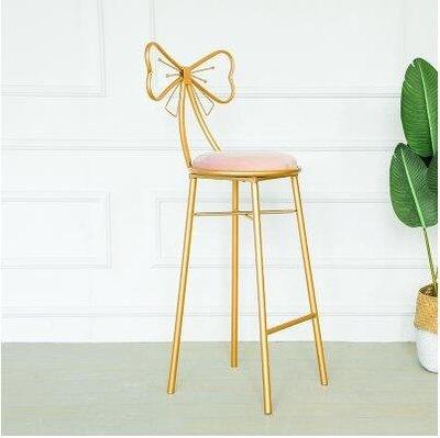現代簡約酒吧高腳凳子北歐家用靠背吧椅吧凳創意時尚蝴蝶結吧臺椅LX