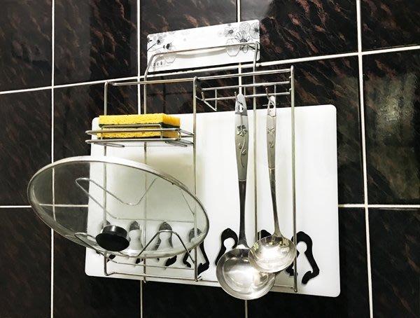 *新世代*免鑽孔貼掛複合式置物架,可廣泛用於放鍋鏟湯勺、鍋蓋架、菜瓜布架、肥皂架、砧板架一應俱全,304不銹鋼廚房架