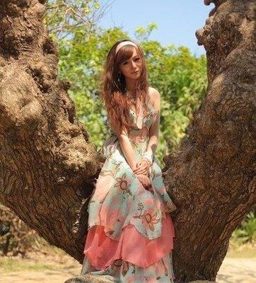 Meico Fashion 美可時尚 H&M 度假風花朵雪紡長洋裝(超模吉賽兒穿搭主打款) 現貨熱賣中! Sale~