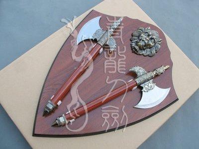 【優上精品】龍泉寶劍 鎮宅辟邪劍雙斧飛頭 獅面雙斧 雙斧掛板劍掛板 cosp(Z-P3258)