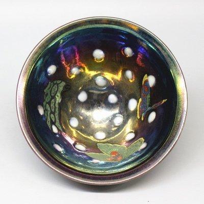 宋建陽 花蝴蝶珍珠茶碗酒碗窯變建盞古董瓷器古玩舊貨擺件收藏