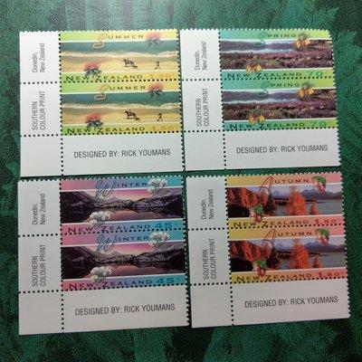 【大三元】紐澳郵票-052紐西蘭 夏天-新票6全邊角二方連-原膠上品