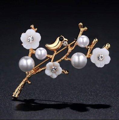 ~潼村小舖come in~韓國流行款式手工製作胸針女精美俏麗花朵胸針~金白鳥花朵~