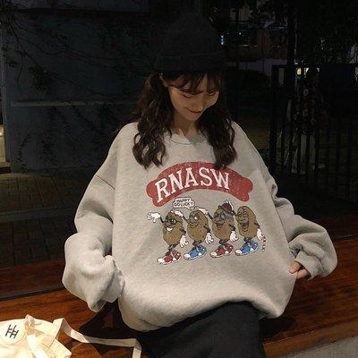 帽T 連帽T恤 寬鬆 圓領 休閒外套秋冬新款上衣女韓版學生加絨寬松顯瘦可愛小人豆豆印花衛衣潮